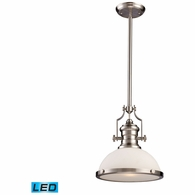 66123-1-LED ELK Lighting Chadwick 1-Light Pendant in Satin Nickel with White Glass - Includes LED Bulb