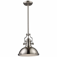 66124-1 ELK Lighting Chadwick 1-Light Pendant in Satin Nickel with Matching Shade