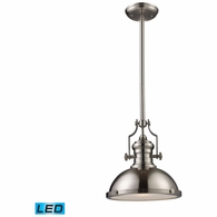 66124-1-LED ELK Lighting Chadwick 1-Light Pendant in Satin Nickel with Matching Shade - Includes LED Bulb