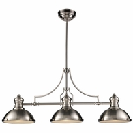 66125-3 ELK Lighting Chadwick 3-Light Island Light in Satin Nickel with Matching Shade