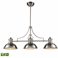 66125-3-LED ELK Lighting Chadwick 3-Light Island Light in Satin Nickel with Matching Shade - Includes LED Bulbs