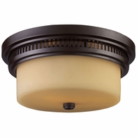 66131-2 ELK Lighting Chadwick 2-Light Flush Mount in Oiled Bronze with Off-white Glass