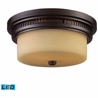 66131-2-LED ELK Lighting Chadwick 2-Light Flush Mount in Oiled Bronze with Off-white Glass - Includes LED Bulbs