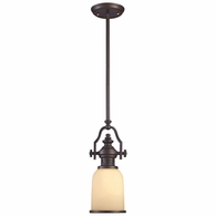 66132-1 ELK Lighting Chadwick 1-Light Mini Pendant in Oiled Bronze with Off-white Glass