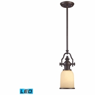 66132-1-LED ELK Lighting Chadwick 1-Light Mini Pendant in Oiled Bronze with Off-white Glass - Includes LED Bulb