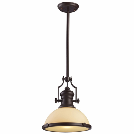 66133-1 ELK Lighting Chadwick 1-Light Pendant in Oiled Bronze with Off-white Glass