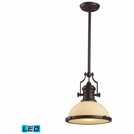 66133-1-LED ELK Lighting Chadwick 1-Light Pendant in Oiled Bronze with Off-white Glass - Includes LED Bulb