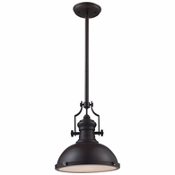 66134-1 ELK Lighting Chadwick 1-Light Pendant in Oiled Bronze with Matching Shade