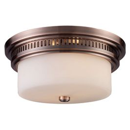 66141-2 ELK Lighting Chadwick 2-Light Flush Mount in Antique Copper with White Glass