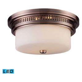 66141-2-LED ELK Lighting Chadwick 2-Light Flush Mount in Antique Copper with White Glass - Includes LED Bulbs