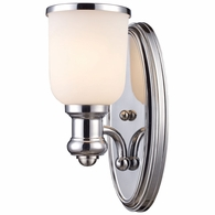 66150-1 ELK Lighting Brooksdale 1-Light Wall Lamp in Polished Chrome with White Glass