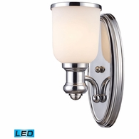 66150-1-LED ELK Lighting Brooksdale 1-Light Wall Lamp in Polished Chrome with White Glass - Includes LED Bulb