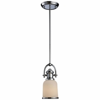 66151-1 ELK Lighting Brooksdale 1-Light Mini Pendant in Polished Chrome with White Glass