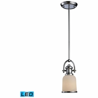 66151-1-LED ELK Lighting Brooksdale 1-Light Mini Pendant in Polished Chrome with White Glass - Includes LED Bulb