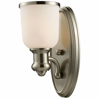 66160-1 ELK Lighting Brooksdale 1-Light Wall Lamp in Satin Nickel with White Glass