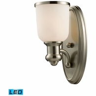 66160-1-LED ELK Lighting Brooksdale 1-Light Wall Lamp in Satin Nickel with White Glass - Includes LED Bulb