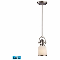 66161-1-LED ELK Lighting Brooksdale 1-Light Mini Pendant in Satin Nickel with White Glass - Includes LED Bulb