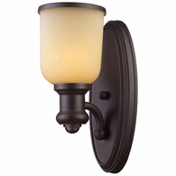 66170-1 ELK Lighting Brooksdale 1-Light Wall Lamp in Oiled Bronze with Amber Glass
