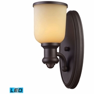 66170-1-LED ELK Lighting Brooksdale 1-Light Wall Lamp in Oiled Bronze with Amber Glass - Includes LED Bulb