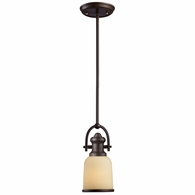 66171-1 ELK Lighting Brooksdale 1-Light Mini Pendant in Oiled Bronze with Amber Glass
