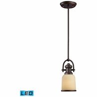 66171-1-LED ELK Lighting Brooksdale 1-Light Mini Pendant in Oiled Bronze with Amber Glass - Includes LED Bulb