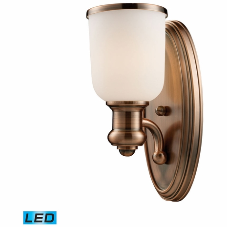 66180-1-LED ELK Lighting Brooksdale 1-Light Wall Lamp in Antique Copper with White Glass - Includes LED Bulb