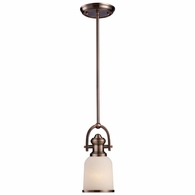 66181-1 ELK Lighting Brooksdale 1-Light Mini Pendant in Antique Copper with White Glass