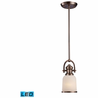 66181-1-LED ELK Lighting Brooksdale 1-Light Mini Pendant in Antique Copper with White Glass - Includes LED Bulb