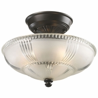 66335-3 ELK Lighting Restoration 3-Light Semi Flush in Oiled Bronze with Clear and Frosted Glass