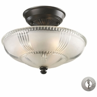 66335-3-LA ELK Lighting Restoration 3-Light Semi Flush in Oiled Bronze with Clear and Frosted Glass - Includes Adapter Kit