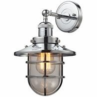 66346/1 ELK Lighting Seaport 1-Light Wall Lamp in Polished Chrome with Clear Glass