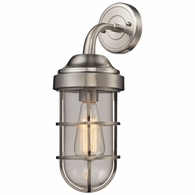 66355/1 ELK Lighting Seaport 1-Light Wall Lamp in Satin Nickel with Clear Glass