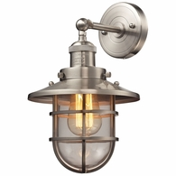 66356/1 ELK Lighting Seaport 1-Light Wall Lamp in Satin Nickel with Clear Glass