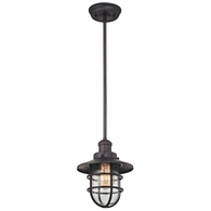 66364/1 ELK Lighting Seaport 1-Light Mini Pendant in Oil Rubbed Bronze with Clear Glass