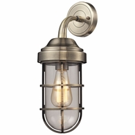 66375/1 ELK Lighting Seaport 1-Light Wall Lamp in Antique Brass with Clear Glass