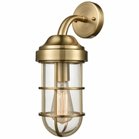66385-1 ELK Lighting Seaport 1-Light Wall Lamp in Satin Brass with Clear Glass