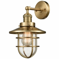 66386-1 ELK Lighting Seaport 1-Light Wall Lamp in Satin Brass with Clear Glass