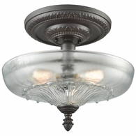 66395-3 ELK Lighting Restoration 3-Light Semi Flush in Oil Rubbed Bronze with Clear and Frosted Glass