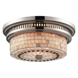 66411-2 Elk Restoration Chadwick 2 Light Flushmount In Polished Nickel And Cappa Shells