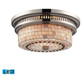 66411-2-LED Elk Restoration Chadwick 2 Light LED Flushmount In Polished Nickel And Cappa Shells
