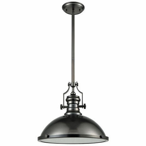 66608-1 ELK Lighting Chadwick 1-Light Pendant in Black Nickel with Metal Shade and Frosted Glass Diffuser
