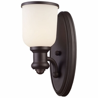 66670-1 ELK Lighting Brooksdale 1-Light Wall Lamp in Oiled Bronze with White Glass