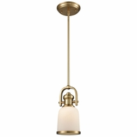66691-1 ELK Lighting Brooksdale 1-Light Mini Pendant in Satin Brass with White Glass