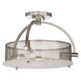 67233 Wildwood Alabaster Natural White Moon Ceiling Light - Nickel
