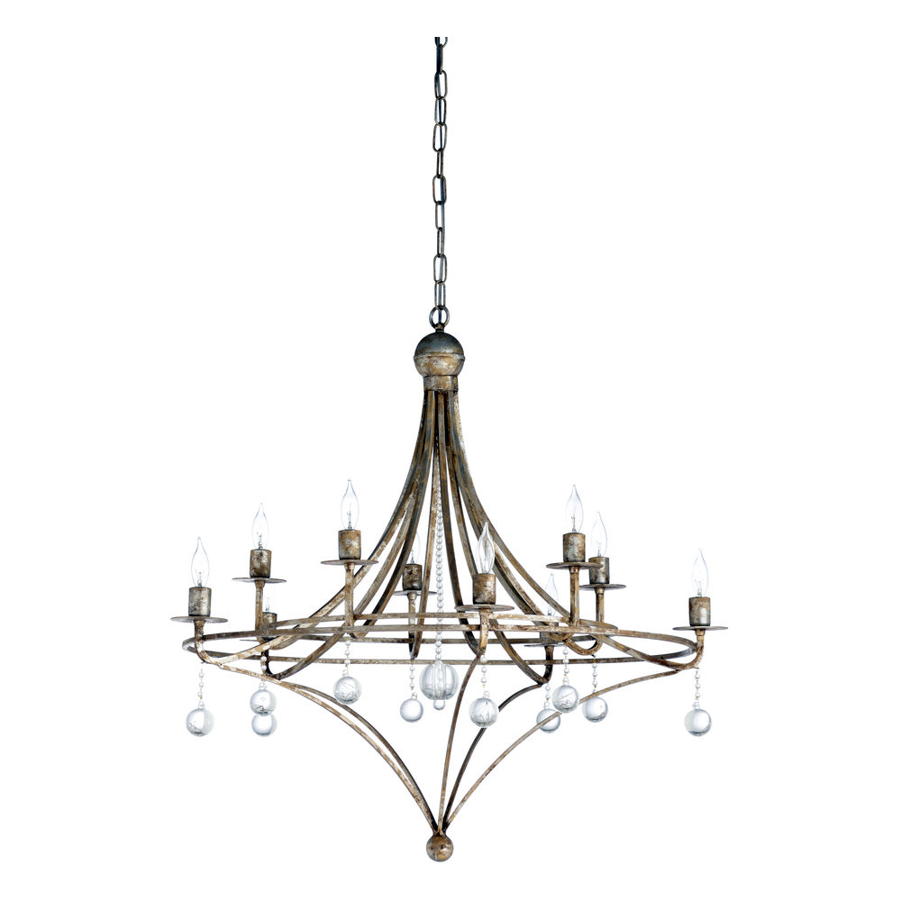 67244 Wildwood Iron/Crystal Aged Silver Leaf/Clear Martha Chandelier