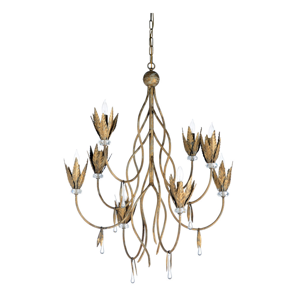 67245 Wildwood Iron/Crystal Aged Gold Leaf/Clear Phoebe Chandelier