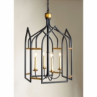 68003 Chelsea House Gothic Shaped Metal Lantern Black And Gilt Finish Seville Lantern - Black/Gold