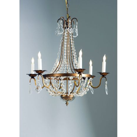 68005 Chelsea House Italian Gilt Metal Frame With Crystals Crystal Drops And Chains Empire Chandelier