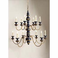 68012 Chelsea House Turned 2 Tier Frame Wood & Metal Black & Ant Gold Finish Stockholm Chandelier