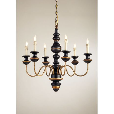 68022 Chelsea House Turned Frame With Wood & Metal Black And Gold Finish Stockholm Chandelier